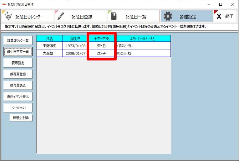 おまかせ記念日管理画面